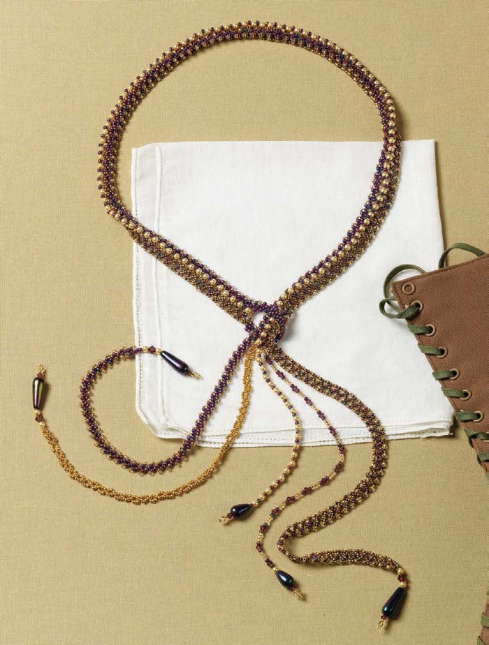 make this crystal, glass and seed bead lariat using the chevron stitch.