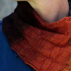 Chili Oil color example knit cowl pattern