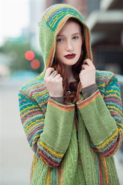 Colorwork crochet creates a gorgeous crochet hoodie.