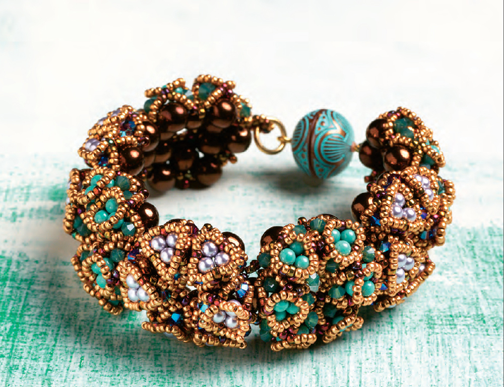 Chrysanthemum Bracelet by Sabine Lippert. Shaped beads, Favorite Bead Stitches Beadwork issue