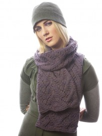 This image is of the Solstice Scarf, and it is a chunky knitting pattern found in our free Chunky Knits eBook.