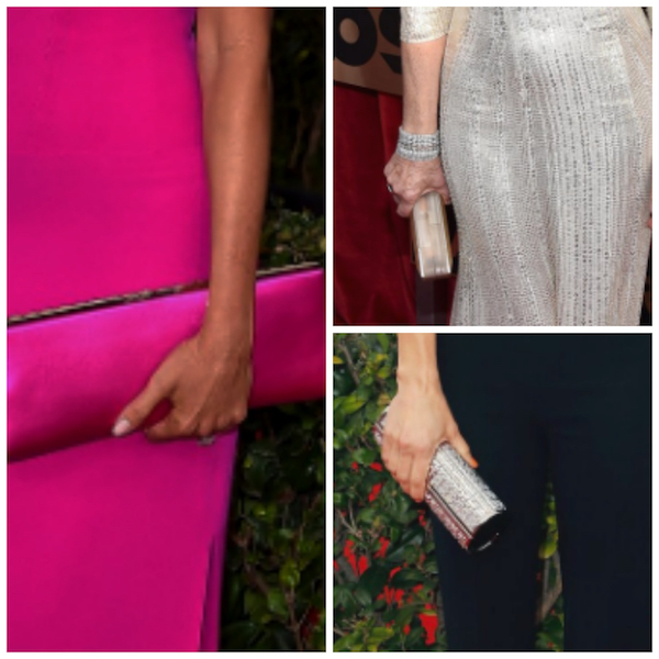 clutches in colors and metallics on the red carpet
