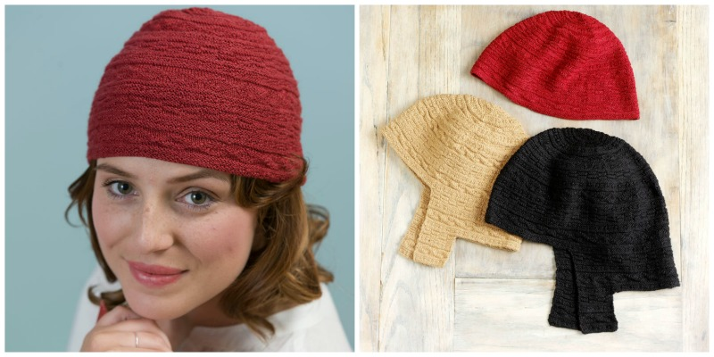 Left: Step out in style with this fabulous Beanie-Style Cap designed by Anne DesMoines. Right: Anne DesMoines's Earflap Hat in Black and Camel and the Beanie-Style Cap in Red.