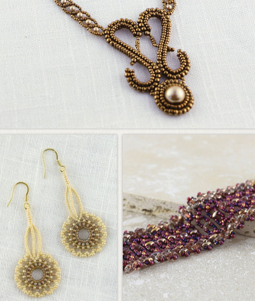 Modern Beaded Lace, Cynthia Newcomer Daniel, seed beadweaving, seed bead projects, seed bead earrings, seed bead bracelets, seed bead neckalce