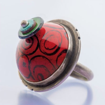 Colorful Enamel Dome Ring by Kirsten Denbow