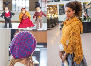 1. Knit a whimsical set of Strolling Dolls by Sarah Ivinson. 2. Cast on this rectangular paisley stole in luscious Merino silk yarn designed by Lana Jois. 3. The luminous beauty of stained glass rose windows is captured in Laura Ricketts' Christ Church Tam. All photos by Julia Vandenoever.