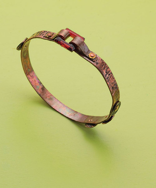 DIY crystal and copper bracelet found in our FREE eBook on copper jewelry making.