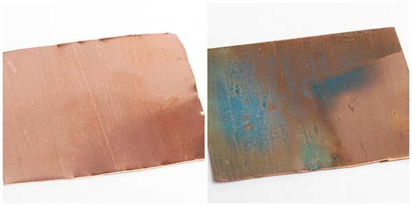 copper sheet and copper sheet with patina applied via ammonai fuming