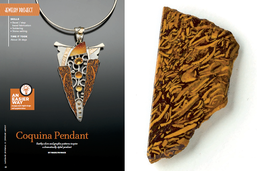 For something appropriately dark for November, but still showing some color, coquina stone is a good choice. In her silver pendant, Marilyn Mack accented the golden inclusions in the coquina with a variety of citrines. Photos by Jim Lawson.