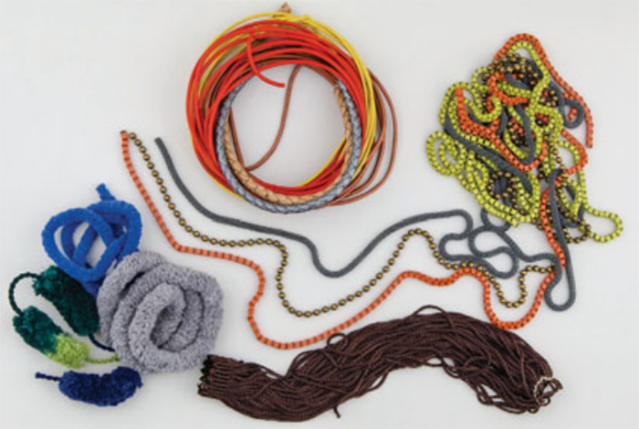 chain, cording, pom-pom fringe for use in soutache bead weaving
