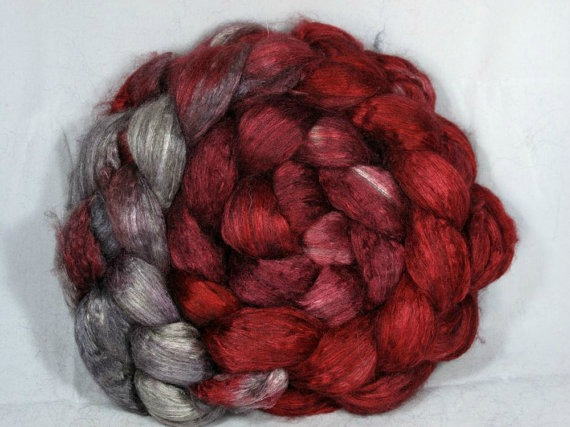 Corgi Hill Farm's delectable yak and silk blend, in colorway Victorian Gothic. Photo used by kind permission of Corgi Hill Farm.