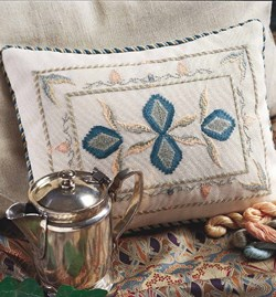 counted thread embroidery pillow