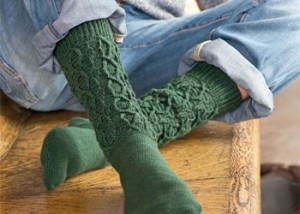 The Hiking Socks by Kim Kotary is a cable stitch pattern found in our free Crochet Cable Stitch Guide eBook.