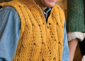 The Big Thompson Vest is a cable stitch vest pattern found in our free Crochet Cable Stitch Guide eBook.