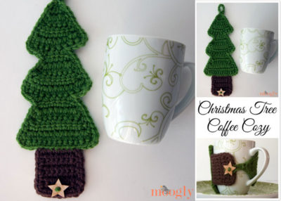 Crocheted Christmas tree cozy.