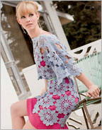St. Tropez Tunic Crochet Pattern for crochet flowers as fabric.