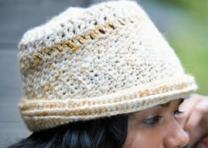 Learn how to crochet hats with this slanting stitches derby hat.