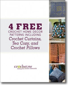 The free Crochet Home Decor Patterns features 4 free crochet patterns including crochet curtains, tea cozy, and crochet pillows.