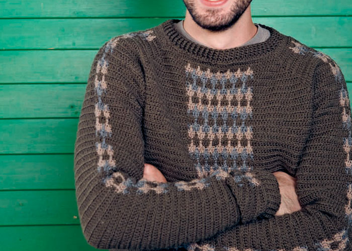 Learn how to crochet a sweater in this FREE eBook on crochet for men patterns.
