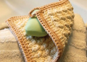 Make this organic cotton washcloth for babies found in our FREE eBook on easy crochet patterns.