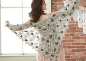 Learn how to crochet flowers on a shawl in this FREE eBook.