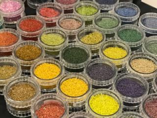 New Delica seed bead colors by Miyuki at Tucson Gem Show. February 2017. Photo by Tamara Honaman.