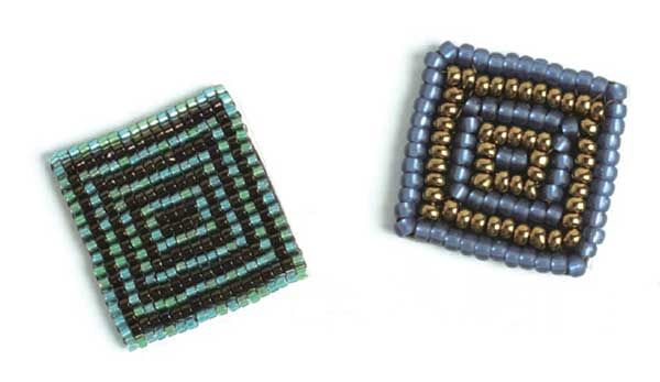 Delicas stitched together in the square on the left; Czech seed beads stitched together in the beaded square on the right