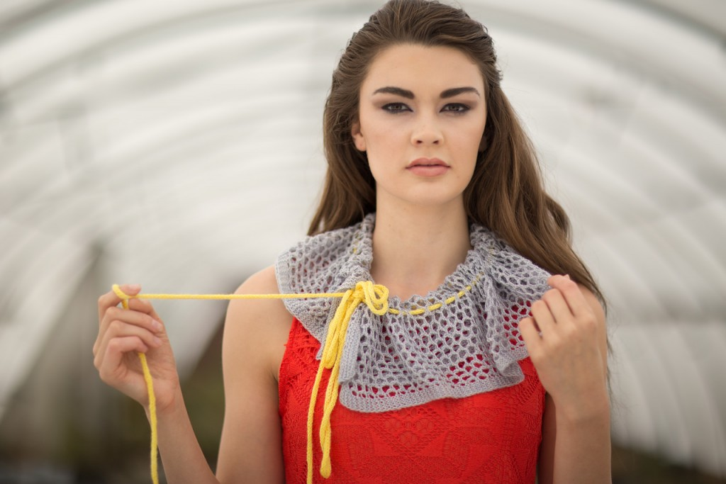Heather Zoppetti uses a lace mesh to form the body of her Capillary Scarf knitting pattern.