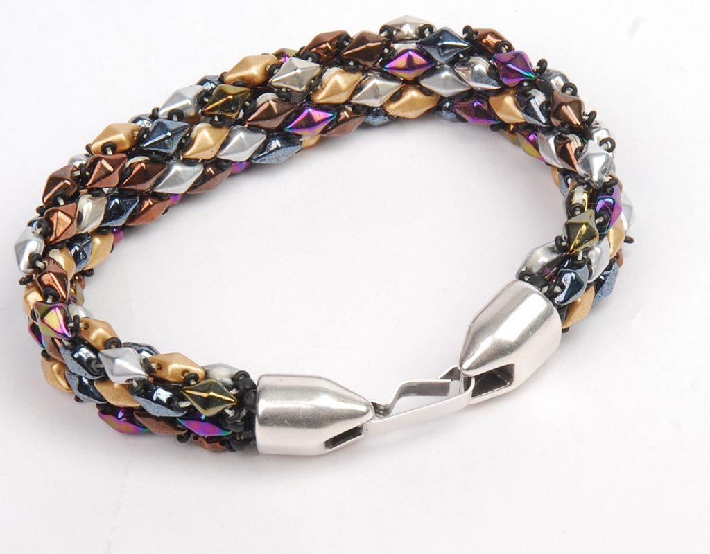 DiamonDuo Bracelet, bead weaving instructions, Step 10b