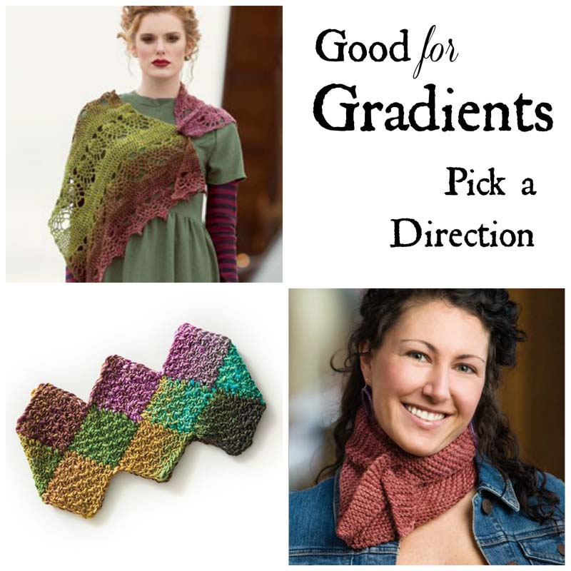 Clockwise from top left: Ananas Shawl by Zsuzsanna Makai; Rainbow Entrelac Cowl by Darla J. Fanton; Little Triangle Scarf by Cecily Glowik MacDonald.