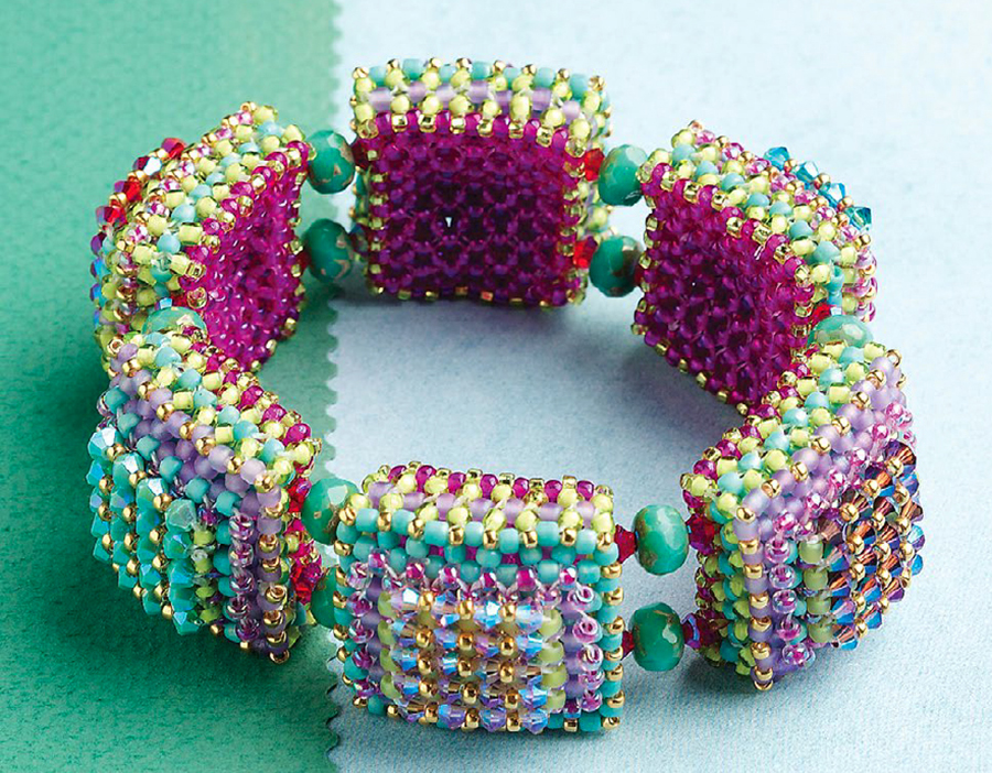Disco Squares Bracelet, 10 Projects by Designer of the Year Marcia DeCoster, right-angle weave, beadweaving, how to make jewelry with beads
