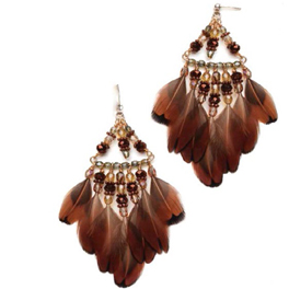 The Umber Pheasant Feather Earrings is a beautiful earring project found in our free Handmade Beaded Earrings eBook.