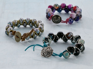 Learn how to make leather bracelets with this FREE eBook, such as these zig-zagging ones!