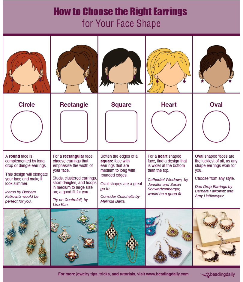 Learn how to choose the right shape earrings for your face shape with this handy infographic and beading blog that explains everything you need to know!
