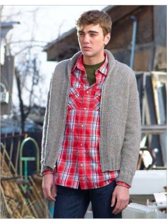Strong details elevate a simple men's sweater. An offset shoulder seam, garter trim, I-cord edging, gentle shawl collar, and top-down sleeves make for knitting interest and subtle style.