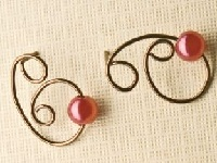 wire swirl and pearl all-in-one post earrings