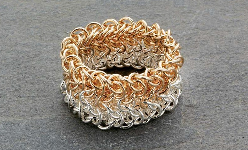 chain maille jewelry: Elfweave bimetal ring
