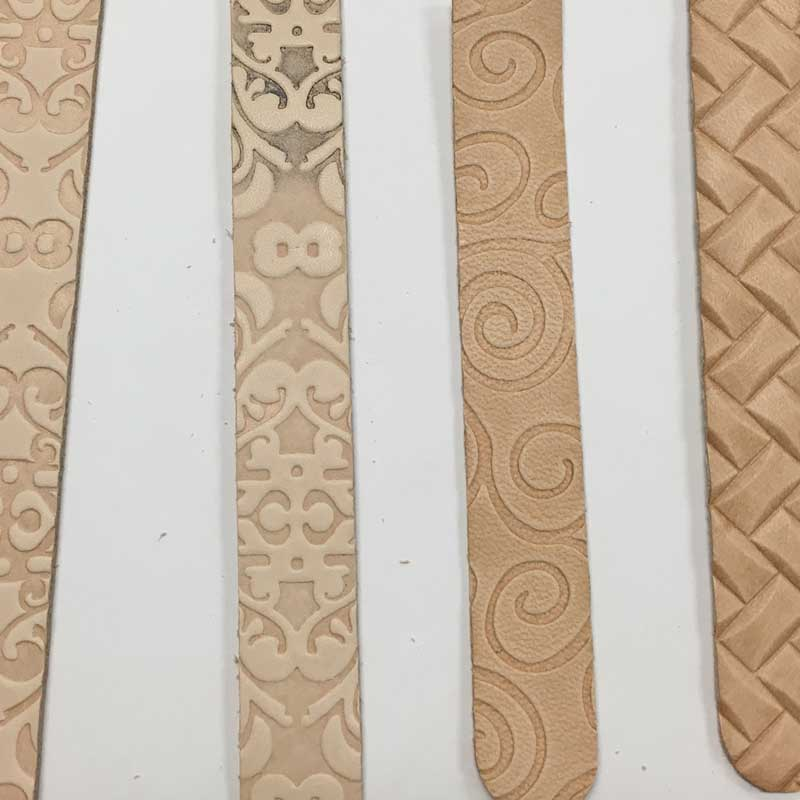 embossed vegetable tanned leather