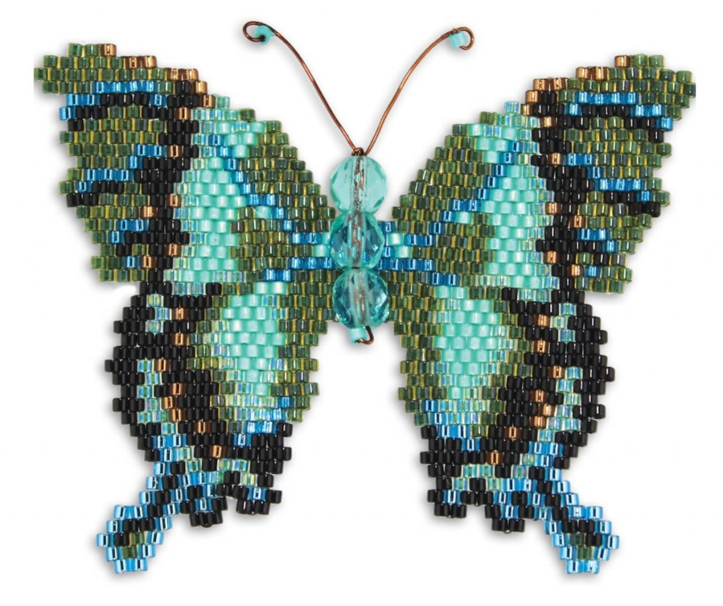 Emerald Green Swallowtail butterfly, brick stitch design, by Karen Parker
