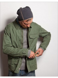 The Emerson Hat is worked flat, then whipstitched with a contrasting color for a visible seam.