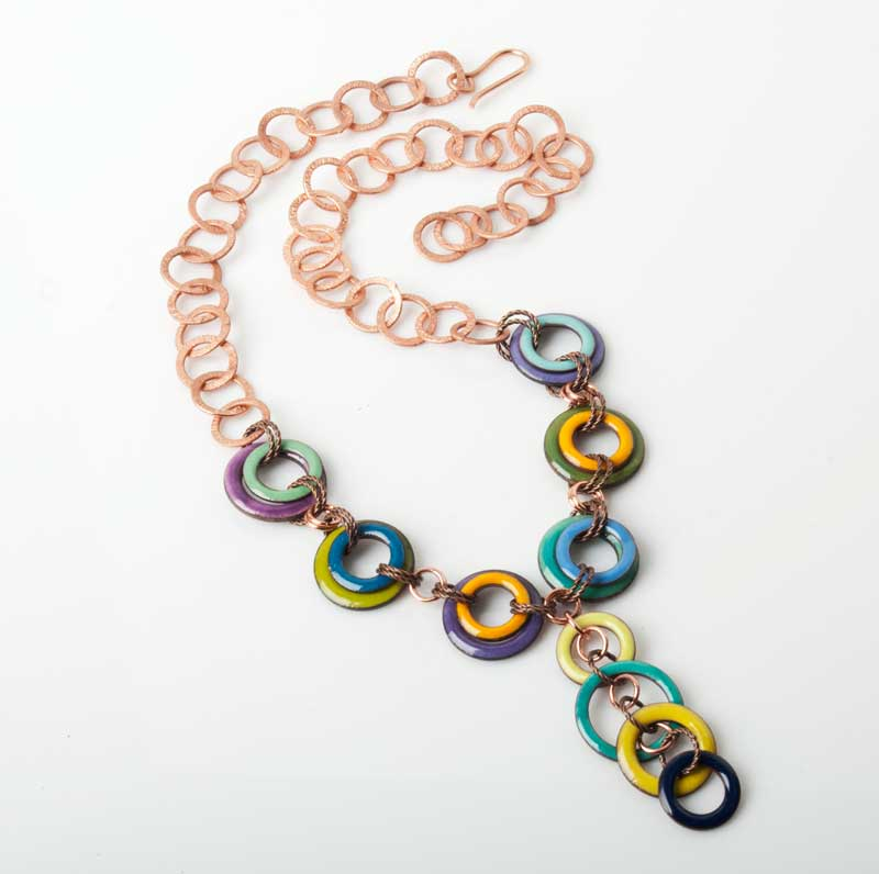 Enameled washer necklace by Tammy Honaman