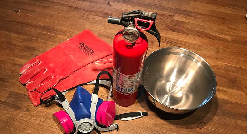 mask, extinguisher, gloves: enameling safety supplies