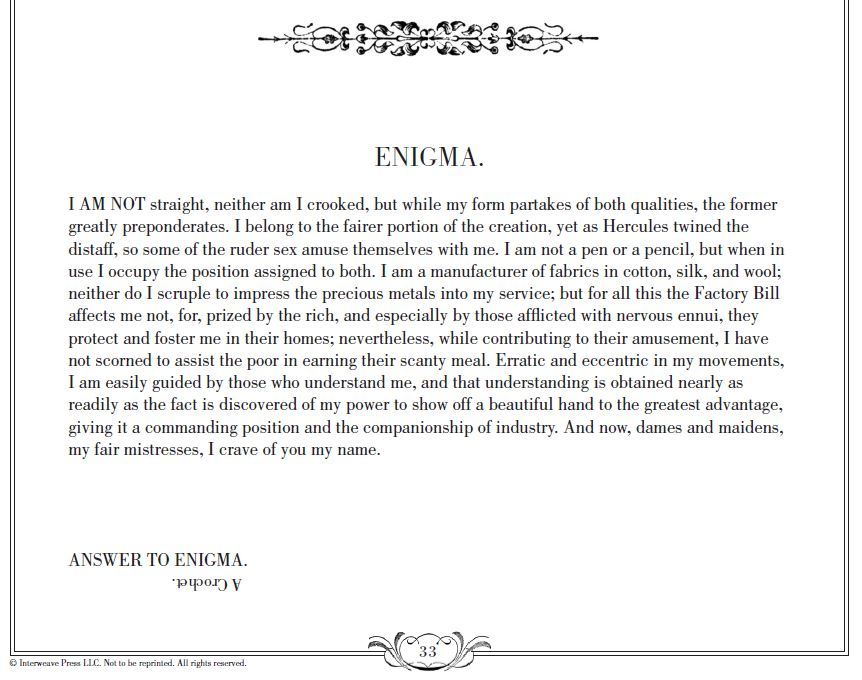 Enigma, Ladies Needlework pg. 33