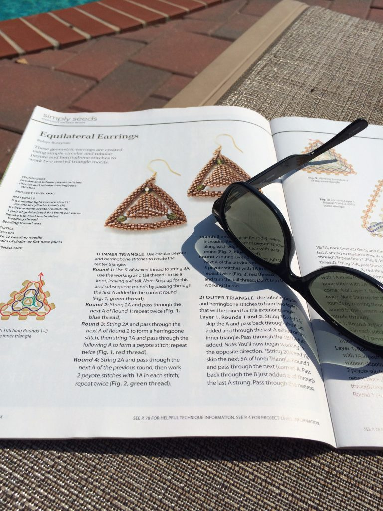 Beadwork magazine, June/July 2016, Equilateral Earrings by Robijo Burzynski