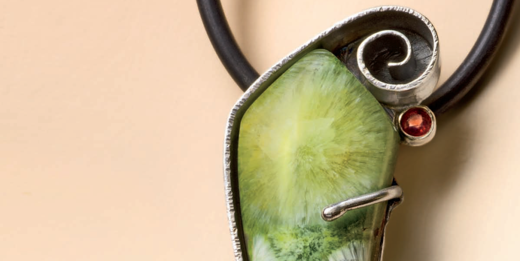 Detail of Lexi Erickson's Wavellite Pendant; photo: Jim Lawson