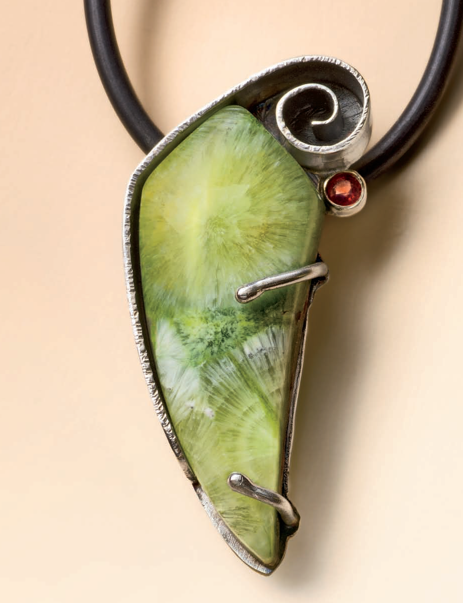 You'll never find a setting like this one in any catalog: Lexi Erickson's Wavellite Pendant originally appeared in Lapidary Journal Jewelry Artist December 2011; photo: Jim Lawson