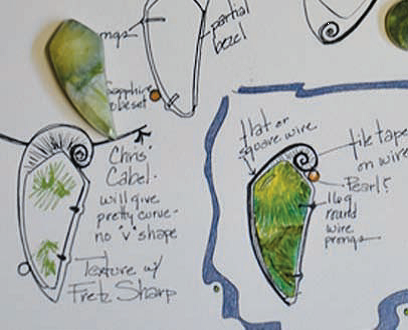 Lexi knew how she wanted to set the wavellite early on, but tried different accent stones in different positions; drawings courtesy Lexi Erickson