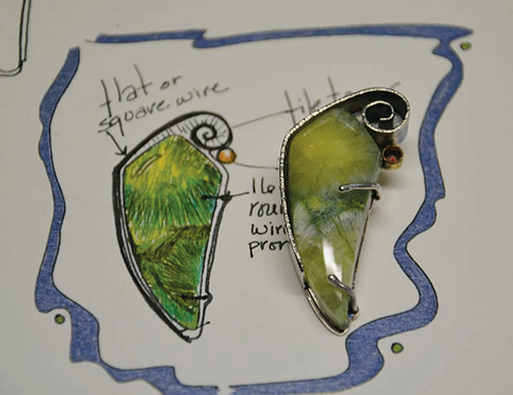 Drawing of her final wavellite pendant design with the finished piece; photo courtesy Lexi Erickson