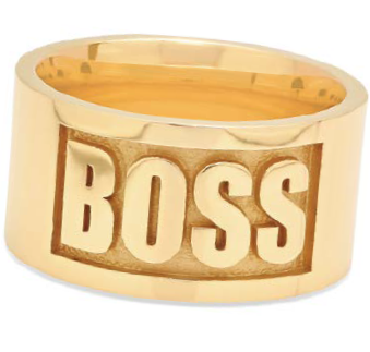 The name says it all: Boss Ring by Nikki Erwin, 14K gold, seen in Lapidary Journal Jewelry Artist November/December 2018; photo courtesy Established