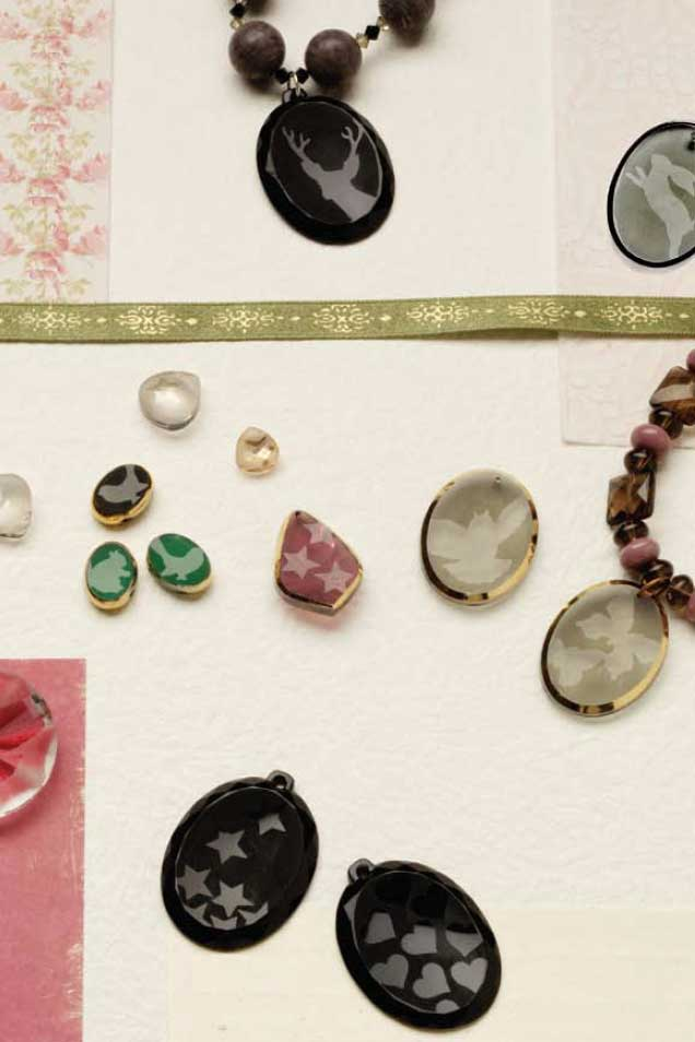 Custom Cool Jewelry by Melinda Barta, multi-media jewelry, customize, acid etched glass
